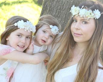Flower crown with rhinestones, wedding wreath, Boho bridal headpiece, wedding flower crown, ivory Flower crown, rustic head wreath