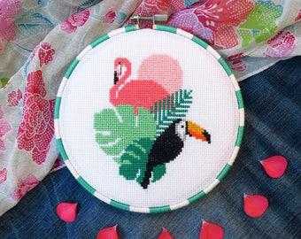 Flamingo Cross Stitch Pattern PDF, Bird Cross Stitch Pattern Chart, Cool Cross Stitch Birds, Pink Flamingo DIY Gift, Toucan, Hawaii, Summer