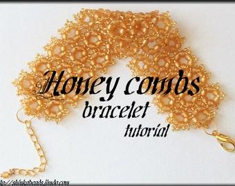 Honey Combs Beading Pattern PDF bracelet  beading pattern tutorial technique seed bead instructions
