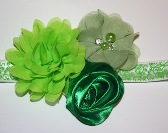 St. Patrick's Day Inspired Boutique Flower Headband (13.5 inches Normally Fits NB-6M)