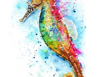 SEAHORSE PRINT   Nursery Decor   Baby Shower   Watercolor Seahorse   Seahorse Painting   Seahorse Art   Gift for Girlfriend   Gift for Her