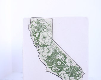 Ready to Ship- California state home decor, ceramic wall tile, clay wall hanging, new home gift, gift for hostess, new house present
