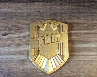 Judge Dredd prop replica Badge - Personalise with your name - 3D Printed 1:1 Scale