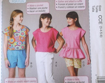 Learn to Sew Mccalls M6917 Girls Top,Shorts,Pants Pattern Childrens Size 3,4,5,6, Summer Top Shorts Pattern