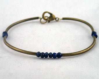 Four Corners Bracelet In Lapis Lazuli - handmade to order in NYC