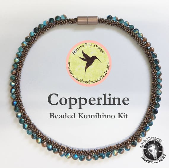 Crystal Copper Rainbow And Aqua Copper Rainbow Beaded Kumihimo Necklace Kit, Loading Instructions, Comes With Both Tex 135 And Tex 210 Cord