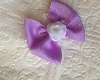 purple baby headband, birthday headband, bow headband, rose baby headband, purple rose headband, baby headband, bow headband, special bow