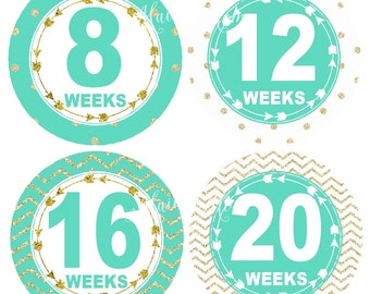 GIFT Pregnancy Belly Stickers, Tribal Arrows,  Weekly Pregnancy Stickers, Monthly Pregnancy Stickers, Baby Belly Bump Stickers,  Gold