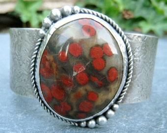 Poppy Jasper Cuff, Bold Gemstone Cuff, Wide Silver Cuff, Morgan Hill Poppy Jasper, red flowers cuff, statement cuff bracelet, textured cuff