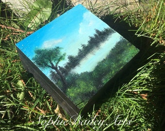 Hand painted nature scenery wooden box