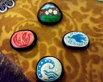 Set of Four Hand Painted Rock Elemental Altar Corner Markers - Earth Air Fire Water- Rituals- Witchcraft- Free Shipping