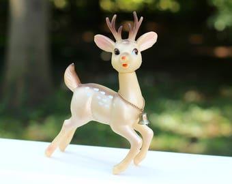 "Vintage Japan Reindeer Christmas Decoration Rubber Plastic Reindeer 8"""