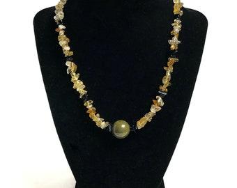 Orange Aventurine with Agate Chips Beaded Gemstone Necklace
