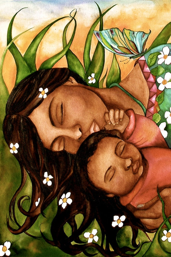 mother and child resting art print