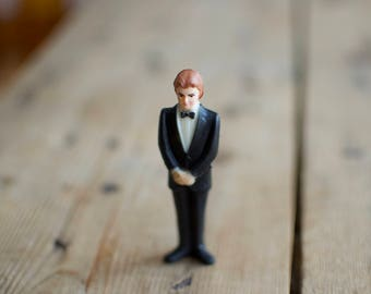 Vintage 1950's Gentleman Groom in a Tuxedo Plastic Wedding Cake Topper Figurine Cake Topper by Wilton