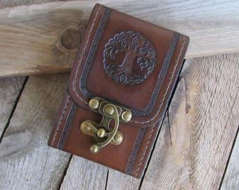Tree of Life Tarot Leather Brown Deck box Tarot bag Original Rider Waite Tarot leather case Tarot Card holder Leather bag Tarot card holder