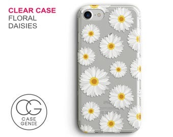 Floral Daisies Clear Phone Case for iPhone X, 8 Plus, 7, 6, 6s Cell Phone Cover Clear and Frosted Transparent Daisy