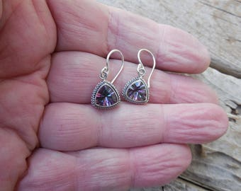Mystic topaz earrings handmade in sterling silver 925