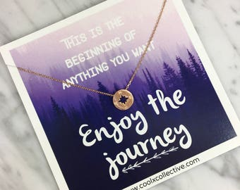Compass necklace, grad gift, graduation gift, travel, wanderlust, enjoy the journey, promotion, new job, grad school, inspirational gif