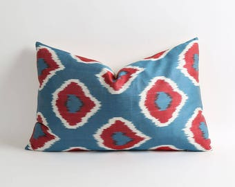 ikat pillow cover, silk pillow cover, wine red, blue pillow, handwoven & hand-dyed pillow