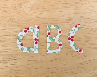Cute & Funky Christmas Iron on Fabric Letters, MIXED CASE letter appliques (3-3.5cm),  made to order, choose your fabrics, ships from UK