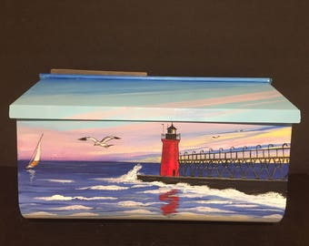Custom Original  Hand painted Nautical Artwork on Wall Mount Mailbox Lighthouse, Lake Michigan