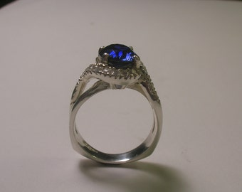 Sapphire Sterling Silver Ring With Accent Stones