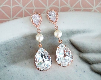 Rose Gold Bridesmaid Earrings Necklace Jewelry Set, Personalized bridal shower gifts idea, Wedding Pearl Swarovski crystal, Reine