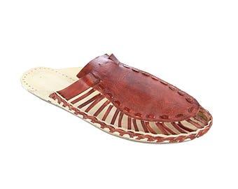 Spectacular Red Brown Upper Kolhapuri Half Shoe M-354