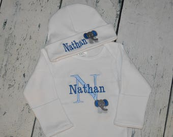 Personalized Infant Gown and Cap set with Elephant,  Monogrammed Take Home Outfit
