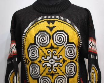 Vintage OXBOW MEN'S PULLOVER , winter abstract pattern sweater..............(077)