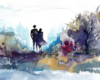 You and Me water color abstract painting PRINT