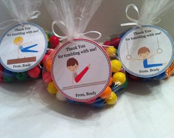 Boy Gymnastics  Party Favor Bags - Set of 12 - Gymnastic Party Favors For Boys / Gymnastics Birthday For Boys / Gymnastic Birthday Favor Boy