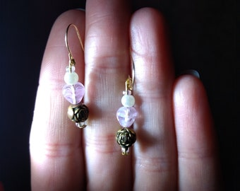 10k Solid Gold Hearts and Roses Earrings