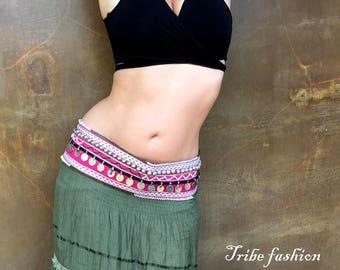 Beautiful Tribal belly dance belt, bellydance costume, Bellydance, tribal fusion belt, kuchi belt