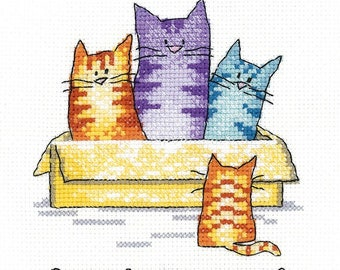 Room for One More  Cross Stitch Kit from  Heritage Craft Little Friends on 14ct Aida, needlework kit, cross stitch, cats kit, Peter Underhil