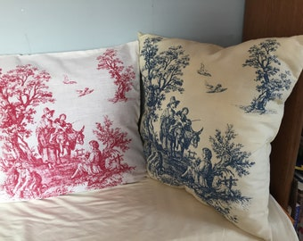 Burgandy or blue pillow covers with a southern  theme