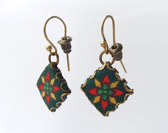 Fabric Tile Earrings.