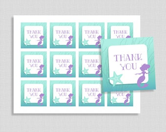 Mermaid Thank You Favor Tags, Aqua and Purple Shower Party Favor Tags, Baby Girl, INSTANT PRINTABLE