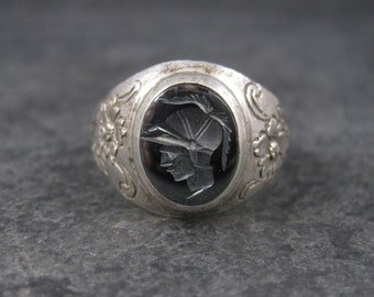 Vintage Sterling Hematite Soldier Cameo Ring Size 9