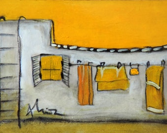 Mediterranean laundry, original painting, acrylic art, bright colors, chill artwork, miniature picture, yellow gift, sunny view, wall ladder