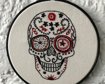 Calavera   Sugar Skull   Day of the Dead Art   Embroidery Art   Sampler