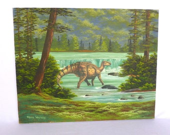 UPCYCLED DINOSAUR ART/ ooak Painting and collage