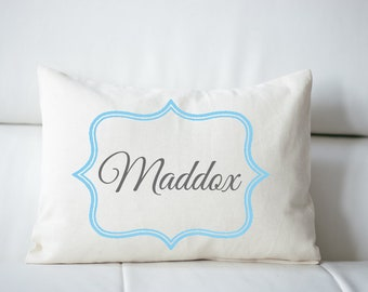 Personalized pillow, baby boy gift idea,  baby pillow, Newborn gift, boys pillow, name pillow blue and grey baby gift idea, twin gift