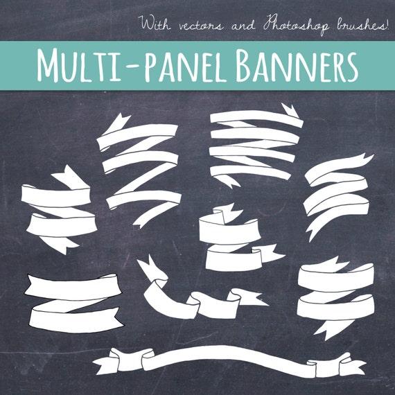 clip art folded banners ribbons hand drawn chalk diy