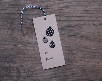 Holiday Ornament Letterpress Gift Tags - Set of Seven - Black & Kraft