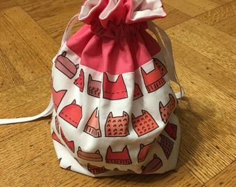 Pussyhat bag -- Medium fully-lined cotton drawstring knitting project bag or dice bag -- RESIST!