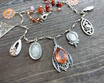 Orange Firefly Charm Necklace - Rose Cameo - Butterfly Filigree - Rose - Vineland charms - Orange Daisy - UPcycyled Assemblage Necklace