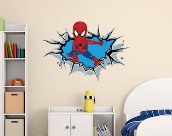 Spiderman 3D Broken Wall Decal   Open Wall Effect Vinyl Art   Super Hero  Design For