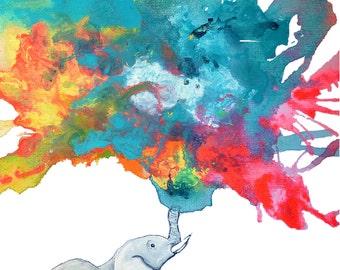 Baby ELEPHANT spraying water | Rainbow Colors | 8 x 10 Art Print for nursery or children's bedroom